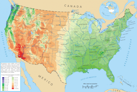 Average-Precipitation-United-States-Public-Domain-460x309 The Best Place To Live In The United States